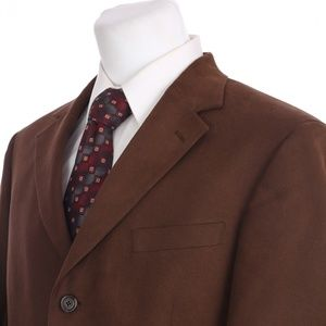 Andrew Fezza 3 Button Faux Suede Brown Sport Coat